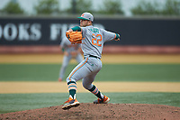 Miami Hurricanes relief pitcher Albert Maury, Jr. (22) in action against the Wake Forest Demon Deacons at David F. Couch Ballpark on May 11, 2019 in  Winston-Salem, North Carolina. The Hurricanes defeated the Demon Deacons 8-4. (Brian Westerholt/Four Seam Images)