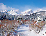 winter morning at Glacier Creek in Rocky Mountain National Park, Colorado, USA