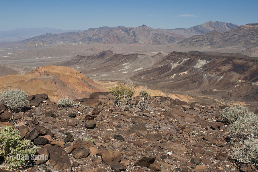 View of the Funeral Mountains, Death Valley National Park, California, from the Greenwater Range at the eastern edge of the park