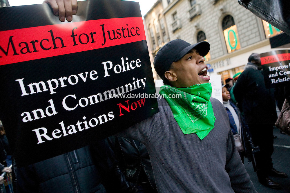 16 December 2006 - New York City, NY - Protesters march down 34th Street in New York City, USA, 16 December 2006, to protest the fatal police shooting of Sean Bell and the wounding of two of his friends in a 50-shot fusillade on his wedding day.