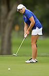 SIOUX FALLS, SD - SEPTEMBER 24:  Sydney MacDonald  from South Dakota State University watches her putt roll to the cup on the fifteenth hole Tuesday morning at Minnehaha Country Club during the Jackrabbit Fall Invitational.  (Photo by Dave Eggen/Inertia)