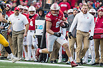 Wisconsin Badgers tight end Troy Fumagalli (81) carries the ball during an NCAA College Big Ten Conference football game against the Iowa Hawkeyes Saturday, November 11, 2017, in Madison, Wis. The Badgers won 38-14. (Photo by David Stluka)