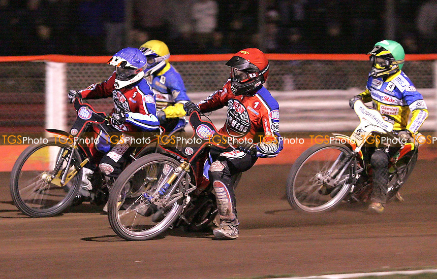 Heat 13 - Joonas Kylmakorpi (Red) and Adam Shields (Blue) of Lakeside Hammers lead Marcin Rempala (Green) and Robert Miskowiak (Yellow) of Ipswich - Lakeside Hammers vs Ipswich Witches at The Arena Essex Raceway, Thurrock - 06/04/07 - MANDATORY CREDIT: Rob Newell/TGSPHOTO
