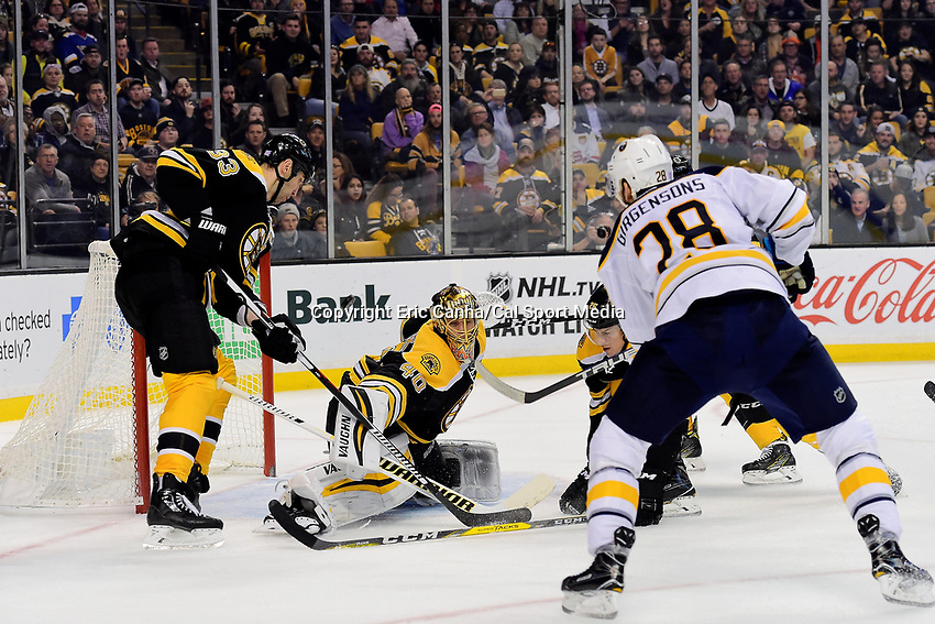 Monday, November 7, 2016: Boston Bruins goalie Tuukka Rask (40) stops a shot by Buffalo Sabres center Zemgus Girgensons (28) during the National Hockey League game between the Buffalo Sabres and the Boston Bruins held at TD Garden, in Boston, Mass. Boston defeats Buffalo 4-0.  Eric Canha/CSM