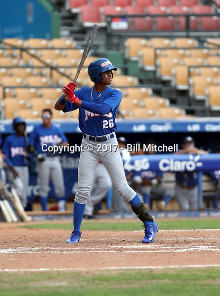 Luis Matos participates in the MLB International Showcase at Estadio Quisqeya on February 22-23, 2017 in Santo Domingo, Dominican Republic.