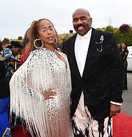 SANTA MONICA - JUNE 1: Steve Harvey and wife Marjorie Harvey attend the 3rd Annual Wearable Art Gala at Barker Hangar on June 1, 2019 in Santa Monica, California. (Photo by Frank Micelotta/PictureGroup)