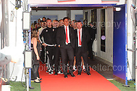 Wales manager Chris Coleman, the back room staff and the Wales squad await to be introduced before entering the stadium during the homecoming celebrations at the Cardiff City stadium on Friday 8th July 2016 for the Euro 2016 Wales International football squad.<br /> <br /> <br /> Jeff Thomas Photography -  www.jaypics.photoshelter.com - <br /> e-mail swansea1001@hotmail.co.uk -<br /> Mob: 07837 386244 -