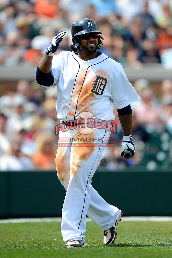 Detroit Tigers first baseman Prince Fielder #28 during a Spring Training game against the New York Mets at Joker Marchant Stadium on March 11, 2013 in Lakeland, Florida.  New York defeated Detroit 11-0.  (Mike Janes/Four Seam Images)