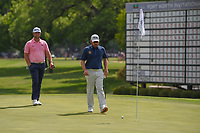 Louis Oosthuizen (RSA) and Jon Rahm (ESP) look over the green on 18 during round 4 of the Fort Worth Invitational, The Colonial, at Fort Worth, Texas, USA. 5/27/2018.<br /> Picture: Golffile | Ken Murray<br /> <br /> All photo usage must carry mandatory copyright credit (© Golffile | Ken Murray)