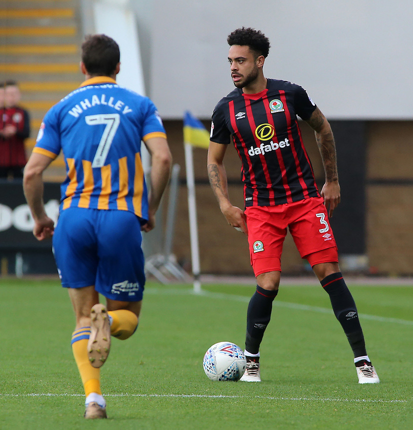 Blackburn Rovers' Derrick Williams tries to find a way round Shrewsbury Town's Shaun Whalley<br /> <br /> Photographer David Shipman/CameraSport<br /> <br /> The EFL Sky Bet League One - Shrewsbury Town v Blackburn Rovers - Saturday 23rd September 2017 - New Meadow - Shrewsbury<br /> <br /> World Copyright &copy; 2017 CameraSport. All rights reserved. 43 Linden Ave. Countesthorpe. Leicester. England. LE8 5PG - Tel: +44 (0) 116 277 4147 - admin@camerasport.com - www.camerasport.com