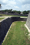 The Castillo de San Marcos is surrounded by a walled moat.  During quiet times, the moat was dry and used as a pasture, but when the need arose, it could be flooded with salt water.  The Castillo de San Marcos is located in St. Augustine, Florida.