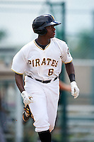 GCL Pirates third baseman Ke'Bryan Hayes (6) runs to first during the second game of a doubleheader against the GCL Yankees 2 on July 31, 2015 at the Pirate City in Bradenton, Florida.  The game was suspended after two innings due to rain.  (Mike Janes/Four Seam Images)