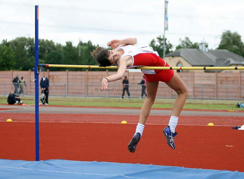 Photo: Rich Eaton...Schools International Athletic Board, Track & Field International Match, Newport. 21/07/2007. Hannah Dickson of England wins gold in the girls high jump.