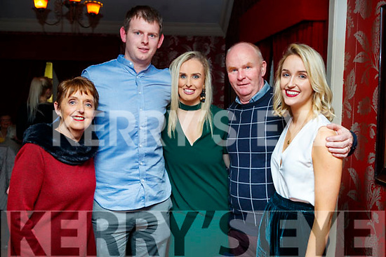 Gary Savage and Niamh Switzer, Tralee, who celebrated their engagement at Cassidy's restaurant, Tralee, on Saturday night last, l-r: Breeda Switzer, Gary Savage, Niamh Switzer, Johnny and Aisling Switzer.