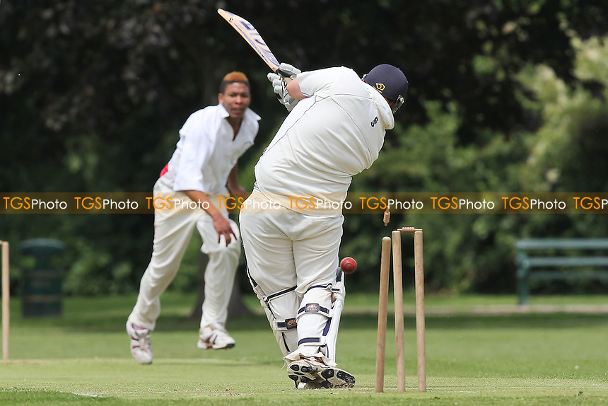 R Rafferty of Hornchurch Athletic is bowled out by Q Daniels - Hornchurch Athletic CC vs Hawks CC - Essex Cricket League at Hylands Park - 23/06/12 - MANDATORY CREDIT: Gavin Ellis/TGSPHOTO - Self billing applies where appropriate - 0845 094 6026 - contact@tgsphoto.co.uk - NO UNPAID USE.