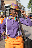London, UK. 24 August 2014. Members of performance group Kinetika Bloco. Notting Hill Carnival 2014 gets underway.