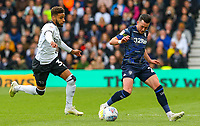Leeds United's Jack Harrison vies for possession with Derby County's Jayden Bogle<br /> <br /> Photographer Alex Dodd/CameraSport<br /> <br /> The EFL Sky Bet Championship Play-off  First Leg - Derby County v Leeds United - Thursday 9th May 2019 - Pride Park - Derby<br /> <br /> World Copyright © 2019 CameraSport. All rights reserved. 43 Linden Ave. Countesthorpe. Leicester. England. LE8 5PG - Tel: +44 (0) 116 277 4147 - admin@camerasport.com - www.camerasport.com