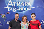 Film director Enrique Gato (L) and actors Michelle Jenner and Dani Rovira pose during `Atrapa la bandera´ film presentation in Madrid, Spain. August 26, 2015. (ALTERPHOTOS/Victor Blanco)