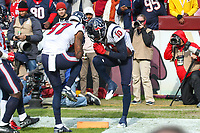 Landover, MD - November 18, 2018: Houston Texans wide receiver DeAndre Hopkins (10) celebrates his touchdown during the  game between Houston Texans and Washington Redskins at FedEx Field in Landover, MD.   (Photo by Elliott Brown/Media Images International)