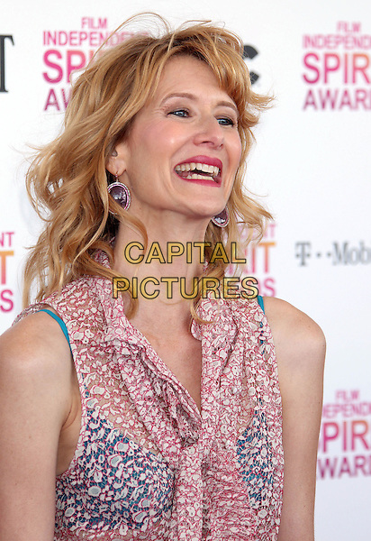 Laura Dern.2013 Film Independent Spirit Awards - Arrivals Held At Santa Monica Beach, Santa Monica, California, USA,.23rd February 2013..indy indie indies indys portrait headshot blue bra sheer shirt top red white print sleeveless smiling .CAP/ADM/RE.©Russ Elliot/AdMedia/Capital Pictures