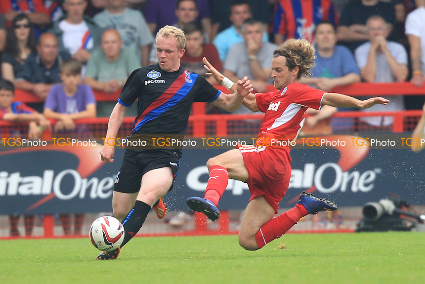 Sergio Torres of Crawley Town Challenges Jonny Williams of Crystal Palace - Crawley Town vs Crystal Palace - Friendly Football Match at the Broadfield Stadium, Crawley - 27/07/13 - MANDATORY CREDIT: Simon Roe/TGSPHOTO - Self billing applies where appropriate - 0845 094 6026 - contact@tgsphoto.co.uk - NO UNPAID USE