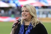 SAN JOSE, CA - JULY 06: National anthem singer during a Major League Soccer (MLS) match between the San Jose Earthquakes and Real Salt Lake on July 06, 2019 at Avaya Stadium in San Jose, California.