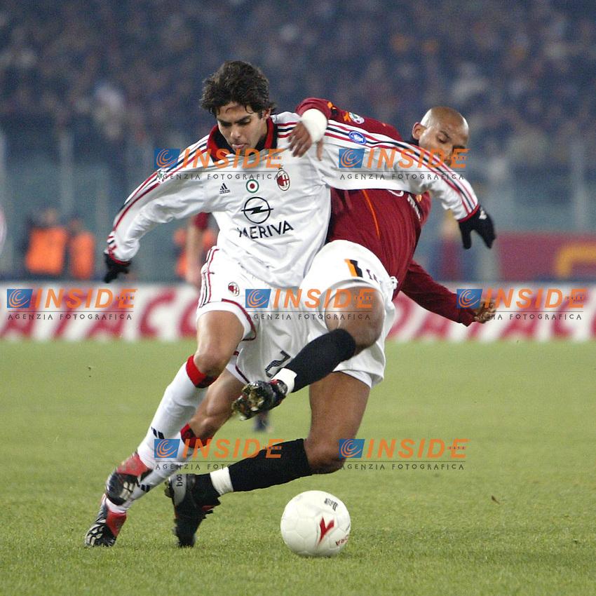 Roma 6/1/2004 Roma - Milan 1-2<br /> Kaka (Milan) challenged by Olivier Dacourt (Roma) <br /> Photo Andrea Staccioli / Insidefoto