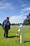 Normandy, WWII veteran and Holocaust survivor Henry Hirschmann at the American Military Cemetery in Omaha Beach on the 70th Anniversary of D-DAY