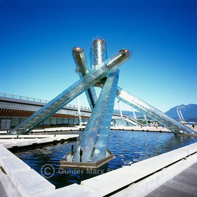 Olympic Cauldron at Jack Poole Plaza, Downtown Vancouver, BC, British Columbia, Canada