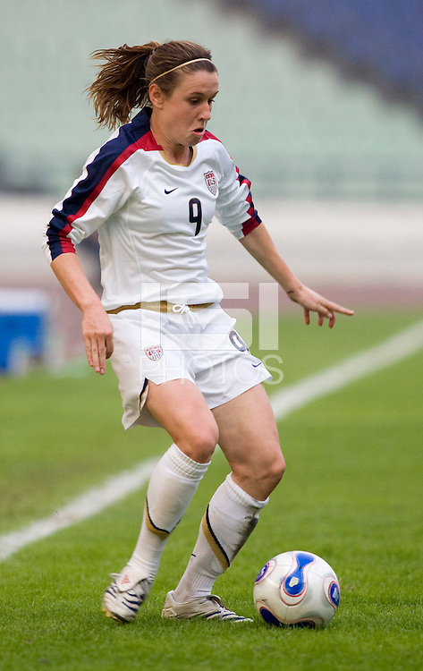 Heather O'Reilly of the USA. The United States defeated China 1-0 during the finals of the Four Nations Tournament in Guangzhou, China on January 20, 2008.