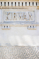 A stone inscription Kirwan on one of the gate post pillars Chateau Kirwan, Cantenac Margaux Medoc Bordeaux Gironde Aquitaine France