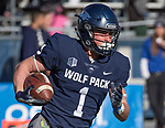 Nevada receiver McLane Mannix (1) runs after making a catch against San Jose State in the first half of an NCAA college football game in Reno, Nev. Saturday, Nov. 11, 2017. (AP Photo/Tom R. Smedes)