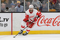 September 26, 2018: Detroit Red Wings right wing Martin Frk (42) in game action during the NHL pre-season game between the Detroit Red Wings and the Boston Bruins held at TD Garden, in Boston, Mass. Detroit defeats Boston 3-2 in overtime. Eric Canha/CSM