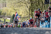 Greg Van Avermaet (BEL/BMC) accelerates up the Kemmelberg cobbles &  Peter Sagan (SVK/Bora-Hansgrohe) tries to jump to his wheel<br /> <br /> 79th Gent-Wevelgem 2017 (1.UWT)<br /> 1day race: Deinze › Wevelgem - BEL (249km)