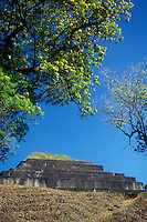 Main pyramid at the Mayan ruins of El Tazumal in El Salvador Central America