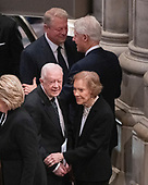 Top: former United States Vice President Al Gore and former US President Bill Clinton and Bottom: former United States President Jimmy Carter and former first lady Rosalynn Carter prior to the National funeral service in honor of the late former US President George H.W. Bush at the Washington National Cathedral in Washington, DC on Wednesday, December 5, 2018.<br /> Credit: Ron Sachs / CNP<br /> (RESTRICTION: NO New York or New Jersey Newspapers or newspapers within a 75 mile radius of New York City)