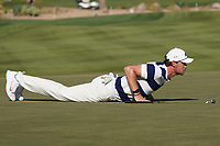 Thomas Pieters (BEL) on the 16th green during Round 3 of the Abu Dhabi HSBC Championship at the Abu Dhabi Golf Club, Abu Dhabi, United Arab Emirates. 18/01/2020<br /> Picture: Golffile | Thos Caffrey<br /> <br /> <br /> All photo usage must carry mandatory copyright credit (© Golffile | Thos Caffrey)