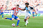 Atletico de Madrid's player Kevin Gameiro and Deportivo de la Coruña's player Arribas during a match of La Liga Santander at Vicente Calderon Stadium in Madrid. September 25, Spain. 2016. (ALTERPHOTOS/BorjaB.Hojas)
