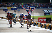 John Degenkolb (DEU/Giant-Alpecin) wins a select sprint in the legendary Roubaix Velodrome, beating Zdenek Stybar (CZE/Etixx-QuickStep) &amp; Greg Van Avermaet (BEL/BMC) to the finish line<br /> <br /> 113th Paris-Roubaix 2015