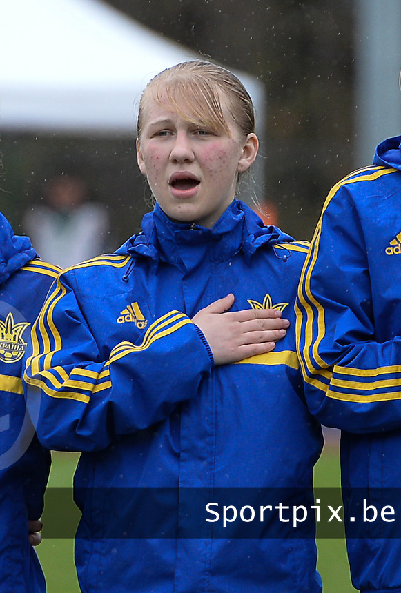 20150404 - FORST , GERMANY  : Ukrainian Tetiana Polyukhovych pictured during the soccer match between Women Under 19 teams of Belgium and Ukraine , on the first matchday in group 5 of the UEFA Elite Round Women Under 19 at WaldseeStadion , Forst , Germany . Saturday 4th April 2015 . PHOTO DAVID CATRY