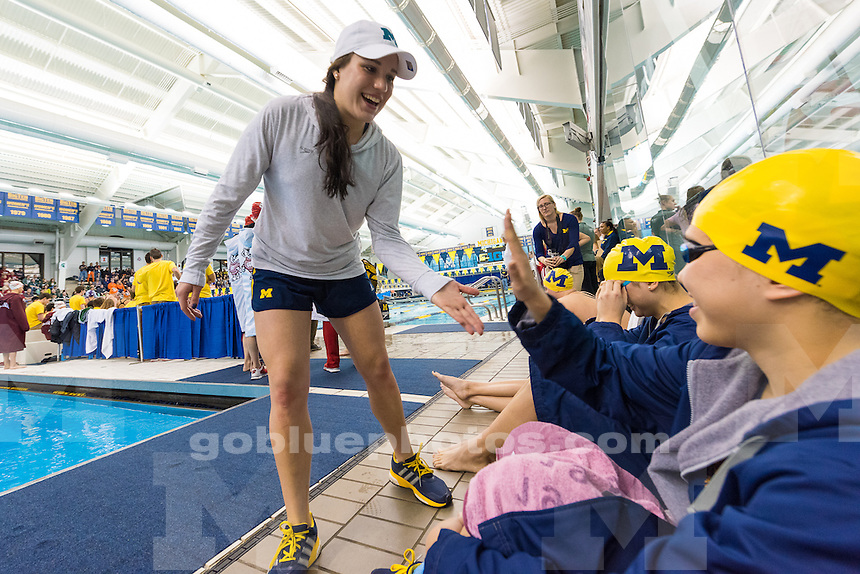 The University of Michigan women's swim and dive team, finished second after Day 1 of the 2016 Big Ten Championships held at Canham Natatorium in Ann Arbor,MI. on Feb. 17, 2016.