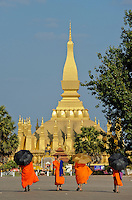 LAOS Vientiane, Buddha temple Pha That Luang the great Stupa / Buddhistischer Tempel Pha That Luang , die grosse Stupa