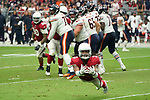 Arizona Cardinals defensive back Tre Boston (33) dives and makes an interception during a game against the Chicago Bears on Sunday  Sep. 23, 2018 in Glendale, Arizona.  (Gene Lower via AP)