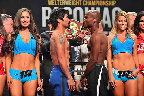 08.04.2016. Las Vegas, Nevada, USA.  Manny Pacquiao (L, Sarangani Province, Philippines) and Timothy Bradley (Palm Springs, Calif., USA) pose for photos during the official pre-fight weigh in at the MGM Grand Garden Arena at the MGM Grand Hotel and Casino in Las Vegas, Nevada. Manny Pacquiao (Sarangani Province, Philippines) and Timothy Bradley (Palm Springs, Calif., USA) will face off for the WBO Welterweight International Title on Saturday, April 9, 2016 at the MGM Grand Garden Arena in Las Vegas, Nevada, USA.