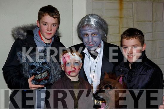 Enjoying the Knocknagoshel Halloween Festival on Sunday night were l-r: Cathal McElligott, John Healy, Pat Healy and Jack McElligott Knocknagoshel
