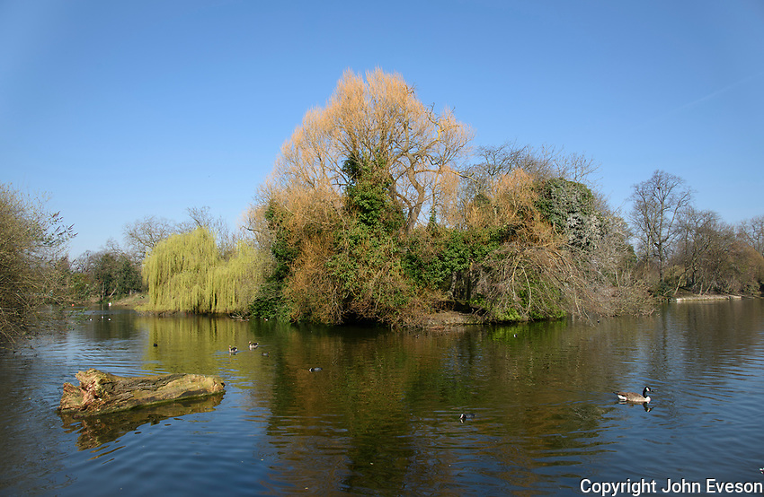 A lake at Victoria Park, Bow, Greater London.