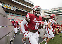 Hawgs Illustrated/BEN GOFF <br /> Gabe Richardson, Arkansas defensive lineman, takes the field Saturday, April 6, 2019, during the Arkansas Red-White game at Reynolds Razorback Stadium.