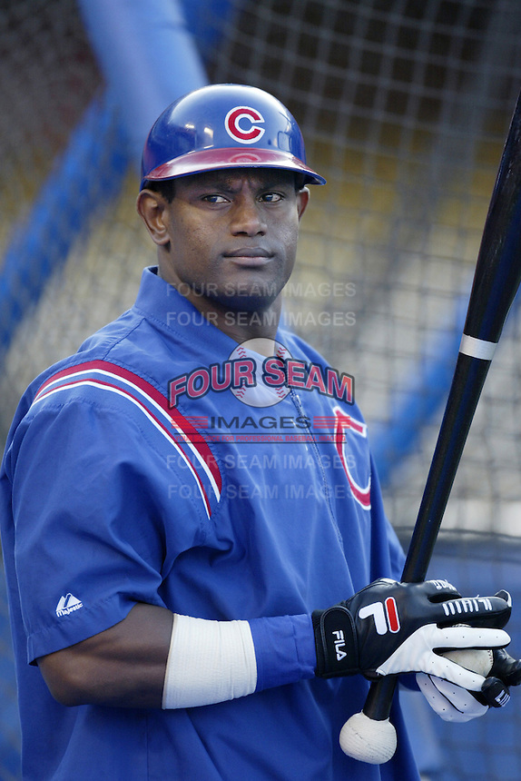 Sammy Sosa of the Chicago Cubs before a 2002 MLB season game against the Los Angeles Dodgers at Dodger Stadium, in Los Angeles, California. (Larry Goren/Four Seam Images)