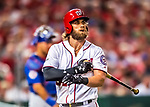 6 October 2017: Washington Nationals outfielder Bryce Harper leaves the batting box during the first game of the NLDS against the Chicago Cubs at Nationals Park in Washington, DC. The Cubs shut out the Nationals 3-0 to take a 1-0 lead in their best of five Postseason series. Mandatory Credit: Ed Wolfstein Photo *** RAW (NEF) Image File Available ***
