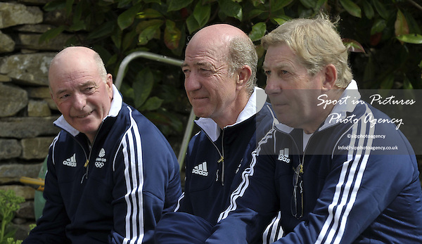 (l to r) John Whittaker MBE, Michael Whittaker and Nick Skelton OBE. TeamGB announce the equestrian team for the Rio2016 Olympics. The old bull pen. Chippenham. Wiltshire. UK. 05/07/2016. ~ MANDATORY CREDIT Garry Bowden/SIPPA - NO UNAUTHORISED USE - +447837 394578
